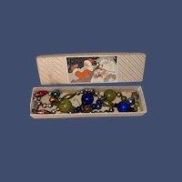 Antique Mercury Glass Garland Christmas Ornaments In Lithograph Santa Gift Box