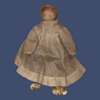 "Antique Cloth Painted Face 11-1/2"" Rag Doll"
