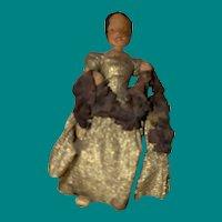 Antique Rare Folk Art Paper Mache Miniature Grodner Type Doll