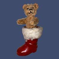 Antique Rare Schuco Perfume Bear in Christmas Santa Boot