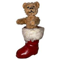 Antique Rare Schuco Perfume Bear In Hos Own Christmas Santa Boot
