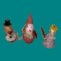 Vintage Set Of Three Old Figural Christmas Ornaments