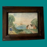 Antique Early American Folk Art  Primitive Landscape Miniature Watercolor