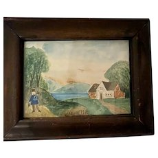 Antique Early American Folk Art  Primitive Landscape Miniature Watercolor