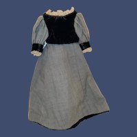 Antique 19th Century Velvet And Brushed Cotton Fashion Doll Dress