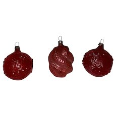 Antique German Blown Glass 3 Pink Early Christmas Tree Hand Painted Ornaments