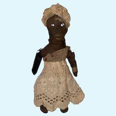 "Antique Folk Art Black Americana 6"" Miniature Dollhouse Cloth Rag Doll"
