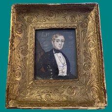 Antique American Miniature Framed Portrait Watercolor