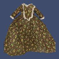 Antique Chintz Brown Hand Sewn Cotton Lace Trim Doll Dress