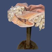American Velvet Salmon Color Chenille Accent Fashion Doll Hat