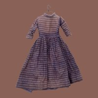 Antique Early Flannel Striped Hand Sewn 19th Century Doll Dress