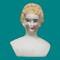 Antique German Miniature Parian Shoulder Head With Rare Hair Style