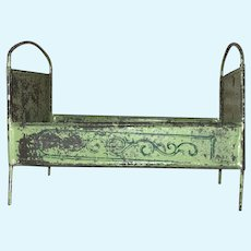 Antique Soft Metal Painted Miniature Dollhouse Bed