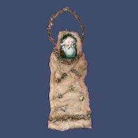 Antique Victorian Spun Cotton Dresden Doe Cut Father Christmas Ornament