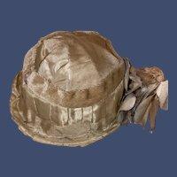 Antique Satin Velvet Floral Decorated Doll Hat