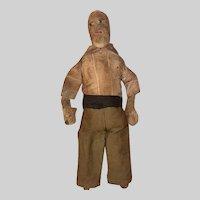 Antique Stitched Face 19th Century Straw Stuffed Folk Art Cloth Boy