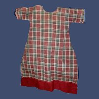 Antique Plaid 19th Century Cotton Country Doll Dress Frock