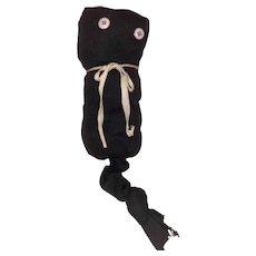 American Folk Art Old Primitive Button Eye Black Sock Kitty