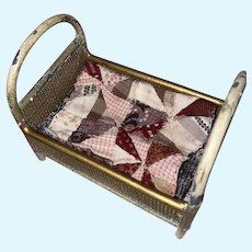 Antique German Miniature Mesh Metal Dollhouse Bed With Miniature Hand Made Quilt