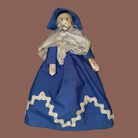 Antique German Peg Wooden Grodner Tal Dollhouse Doll In Shaker Type Ensemble