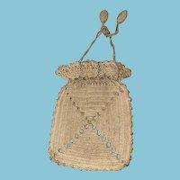 Antique Early Crochet Reticule Drawstring Victorian Purse