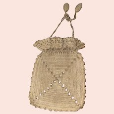 Antique Early Crochet Reticule Drawstring Victorian Purse