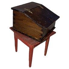 Old Primitive Miniature Folk Art Dollhouse Lap Desk With Strap Hinges
