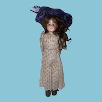Antique Cabinet Size German Bisque Shoulder Head Kid Body Fashion Doll