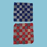 Antique Hand Stitched Square Pair Of Miniature Quilt Tops