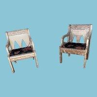 Antique Gottschalk Miniature Dollhouse Wooden Chairs With Fabric Seats