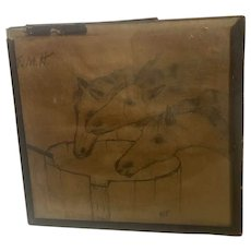 Antique Folk Art Victorian School Girl Pencil Sketch Horse Barnyard Drawing