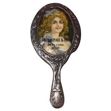 Antique Miniature Silver Tone Celluloid Finish Advertising Victorian Hand Mirror