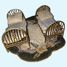 Antique German Pressed Metal Pair Dollhouse Miniature Doll Beds