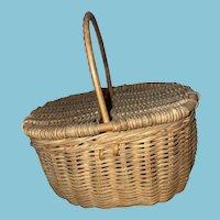 Antique Wicker Swing Top Old Sewing Basket
