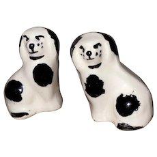 Staffordshire Type Porcelain Miniature Dollhouse Spaniel Dogs