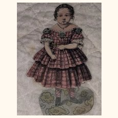 Antique Victorian Pressed Cardboard Paper Doll With Dress