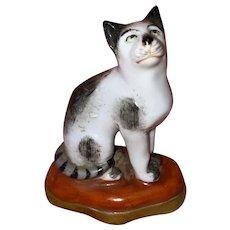 Antique Miniature Porcelain Chelsea Cat Staffordshire Gold Anchor Mark