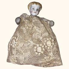 Antique German Mid 19th Century Blond Miniature Parian Dollhouse Doll