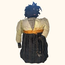 Antique American Folk Art Sock Cloth Stitched Face Stump Rag Doll