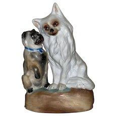 Antique Parian Bisque Figural Adoring Dogs Statue