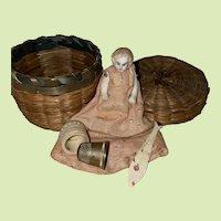 Antique Sewing Sweet Grass Basket Doll Ensemble
