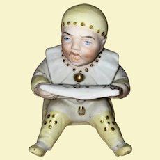 Antique German Bisque Boy On Swing Musical Notes