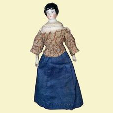 Antique 19th Century Dollhouse China Head Doll As Found