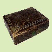 Antique Miniature Travel  Small Leather Sewing Case