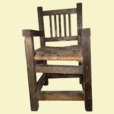 Old Salesman Sample Wooden Arts And Craft Mission Cane Seat Chair
