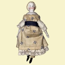 "Antique Parian Bisque  German 4-1/4"" Shoulder Head Dollhouse Doll With Flat Feet"