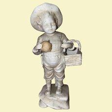 Antique Victorian Rare Parian Bisque Boy And His  Apple Basket Statue