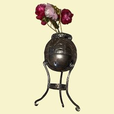 Old Pressed Metal Dollhouse Miniature Flower Pot Stand