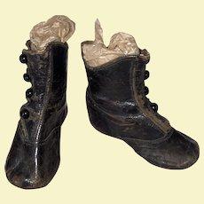 Antique Victorian Black Leather Shoe Button Child's Shoes