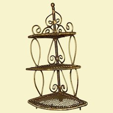 Old Gold Soft Metal Mesh Miniature Dollhouse 3 Tier Plant Stand
